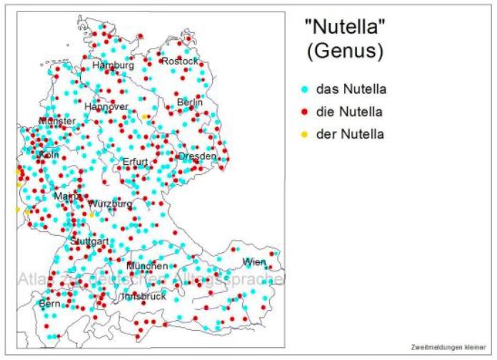 Carte genre du mot Nutella allemand useR! 2019